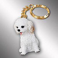 Cockapoo White Key Chain