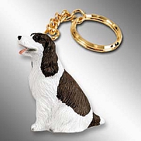 Springer Spaniel Liver & White Key Chain