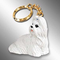 Shih Tzu White Key Chain