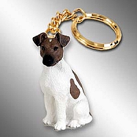 Fox Terrier Brown & White Key Chain