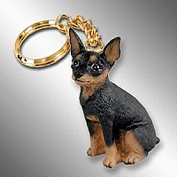 Miniature Pinscher Tan & Black Key Chain