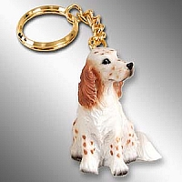 English Setter Belton Orange Key Chain