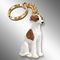 Whippet Brindle & White Key Chain
