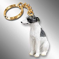 Whippet Gray & White Key Chain