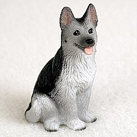 German Shepherd Black & Silver Tiny One Figurine