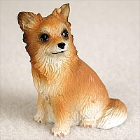 Chihuahua Longhaired Tan& White Tiny One Figurine