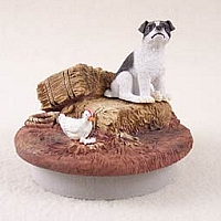 Jack Russell Terrier Black & White w/Smooth Coat Candle Topper Tiny One