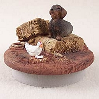 Wire Haired Dachshund Red Candle Topper Tiny One