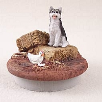 Husky Black & White w/Brown Eyes Candle Topper Tiny One