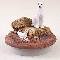 Whippet White Candle Topper Tiny One