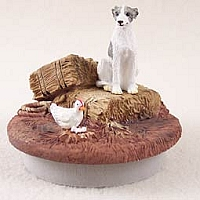 Whippet Gray & White Candle Topper Tiny One