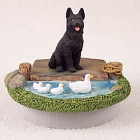 German Shepherd Black Candle Topper Tiny One