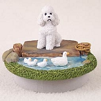 Poodle White w/Sport Cut Candle Topper Tiny One