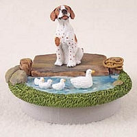 Pointer Brown & White Candle Topper Tiny One