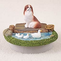 Japanese Chin Black & White Candle Topper Tiny One