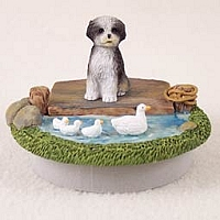 Shih Tzu Black & White w/Sport Cut Candle Topper Tiny One