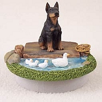 Doberman Pinscher Black w/Cropped Ears Candle Topper Tiny One