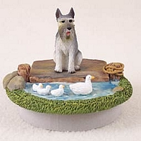 Schnauzer Giant Gray Candle Topper Tiny One