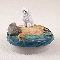 Poodle White Candle Topper Tiny One