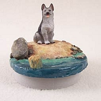 German Shepherd Black & Silver Candle Topper Tiny One