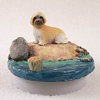 Lhasa Apso Brown w/Sport CutCandle Topper Tiny One