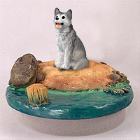 Husky Gray & White w/Brown Eyes Candle Topper Tiny One
