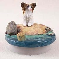 Papillon Brown & White Candle Topper Tiny One