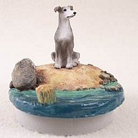 Greyhound Blue Candle Topper Tiny One