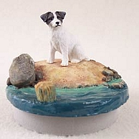 Jack Russell Terrier Black & White w/Rough CoatCandle Topper Tiny One