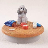 Poodle Gray w/Sport Cut Candle Topper Tiny One