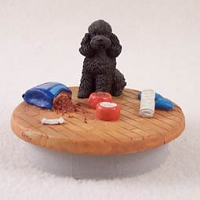 Poodle Chocolate w/Sport Cut Candle Topper Tiny One