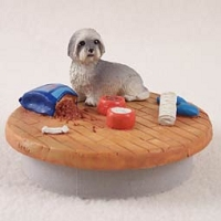 Lhasa Apso Gray w/Sport Cut Candle Topper Tiny One