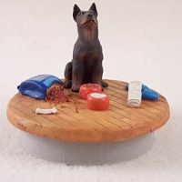 Doberman Pinscher Red w/Cropped Candle Topper Tiny One