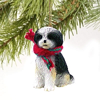 Shih Tzu Black & White w/Sport Cut Original Ornament