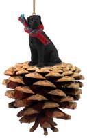 Great Dane Black w/Uncropped Ears Pinecone Pet Ornament