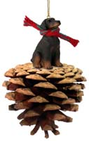 Doberman Pinscher Red w/Uncropped Ears Pinecone Pet Ornament