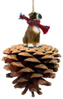 Boxer w/Uncropped Ears Pinecone Pet Ornament
