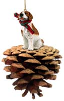 Pointer Brown & White Pinecone Pet Ornament