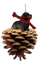 Wire Haired Dachshund Red Pinecone Pet Ornament