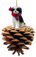 Shih Tzu Black & White w/Sport Cut Pinecone Pet Ornament