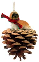 Lhasa Apso Brown w/Sport Cut Pinecone Pet Ornament