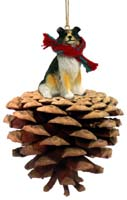 Collie Tricolor Pinecone Pet Ornament