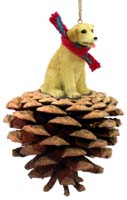 Labrador Retriever Yellow Pinecone Pet Ornament