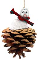 Shih Tzu White Pinecone Pet Ornament