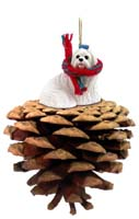 Maltese Pinecone Pet Ornament