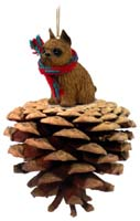 Brussels Griffon Red Pinecone Pet Ornament