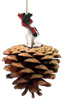 Fox Terrier Black & White Pinecone Pet Ornament