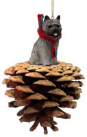 Cairn Terrier Gray Pinecone Pet Ornament