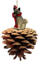 Akita Gray Pinecone Pet Ornament