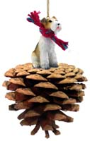 Wire Fox Terrier Red Pinecone Pet Ornament